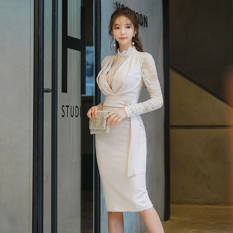 2020 Sexy Illusion Tulle High Neck Long Sleeve Lace Cocktail Dress Belt Design Knee Length Ladies Formal Dresses Cocktailkleid