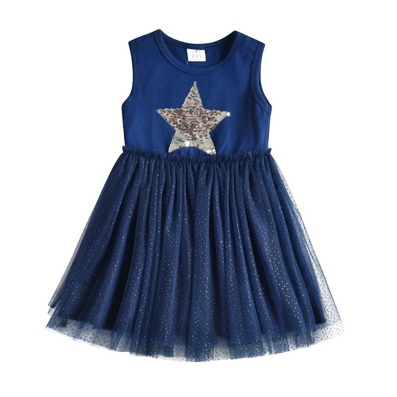 DXTON Girls Summer Dress Star Sequined Girls Tutu Dresses Kids Cartoon Princess Dress Children Costumes for Kids Cotton Clothes 2