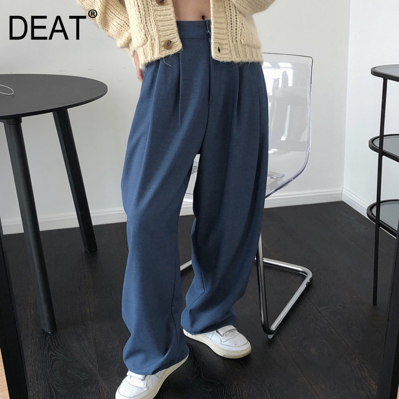 DEAT 2020 New Spring Summer Solid Color High Waist Wide Log Pants Women Casual Wild Temperament Straight Trouser Tide PE017