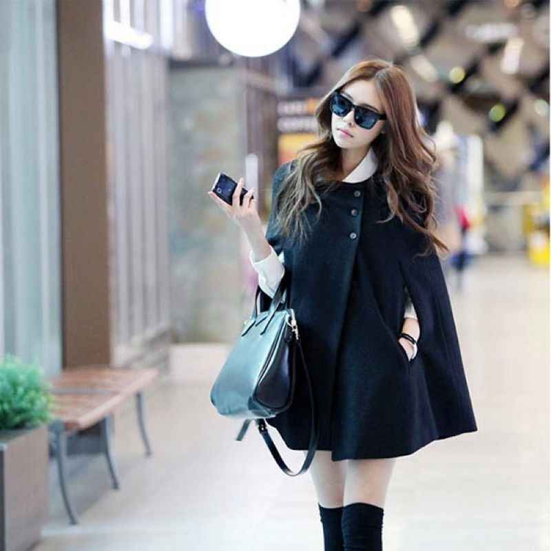 Hot Vrouwen Lady Cloak Poncho Coat Losse Mode Uitloper Medium Lengte Kleding Voor Winter HD88