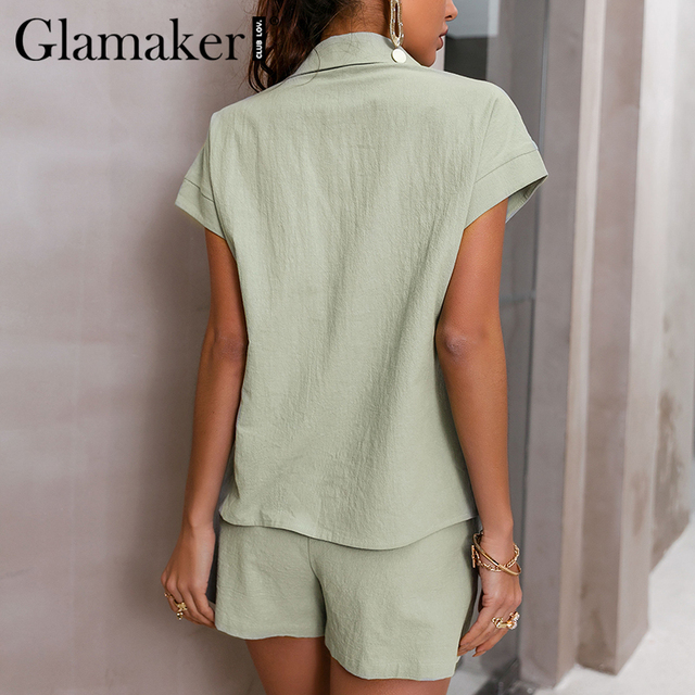 Glamaker Green two piece suit short sleeve shirt and shorts Women loose casual summer playsuit Female 2021 new office lady sets 3