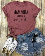 Mamacita needs a margarita Print Casual Cotton Funny T Shirt Women casual slogan hipster street wear vintage Tops Tees- K458
