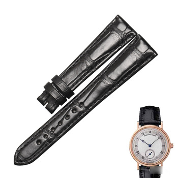 WENTULA watchbands for Breguet Classique 5907BA/7787 alligator skin /crocodile grain leather strap watch band image