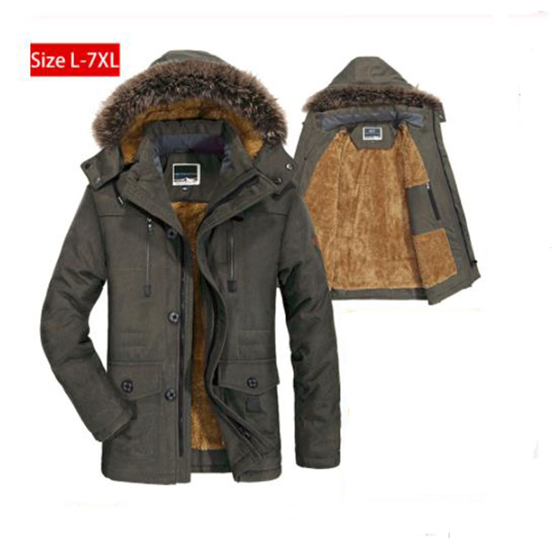 Mens Winter Jacket Thick Warm Cotton-Padded   Parka   Coat Male Mid-Long Jackets Hooded Fleece Coats Windbreaker Brand Clothing 6XL