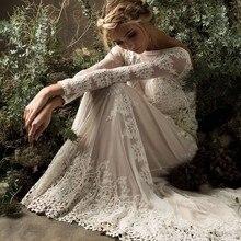 Vestido De Noiva кружевное свадебное платье с длинным рукавом в стиле бохо, Элегантное свадебное платье с открытой спиной, винтажное свадебное платье