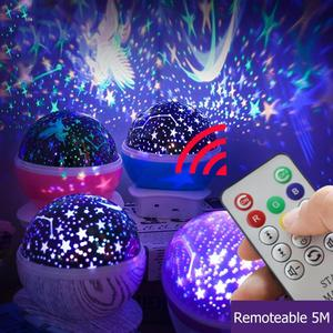Remote Control Star Moon Lamp Starry Night Light LED Projection Star Light Child Bedroom Lamp Support Dropshipping