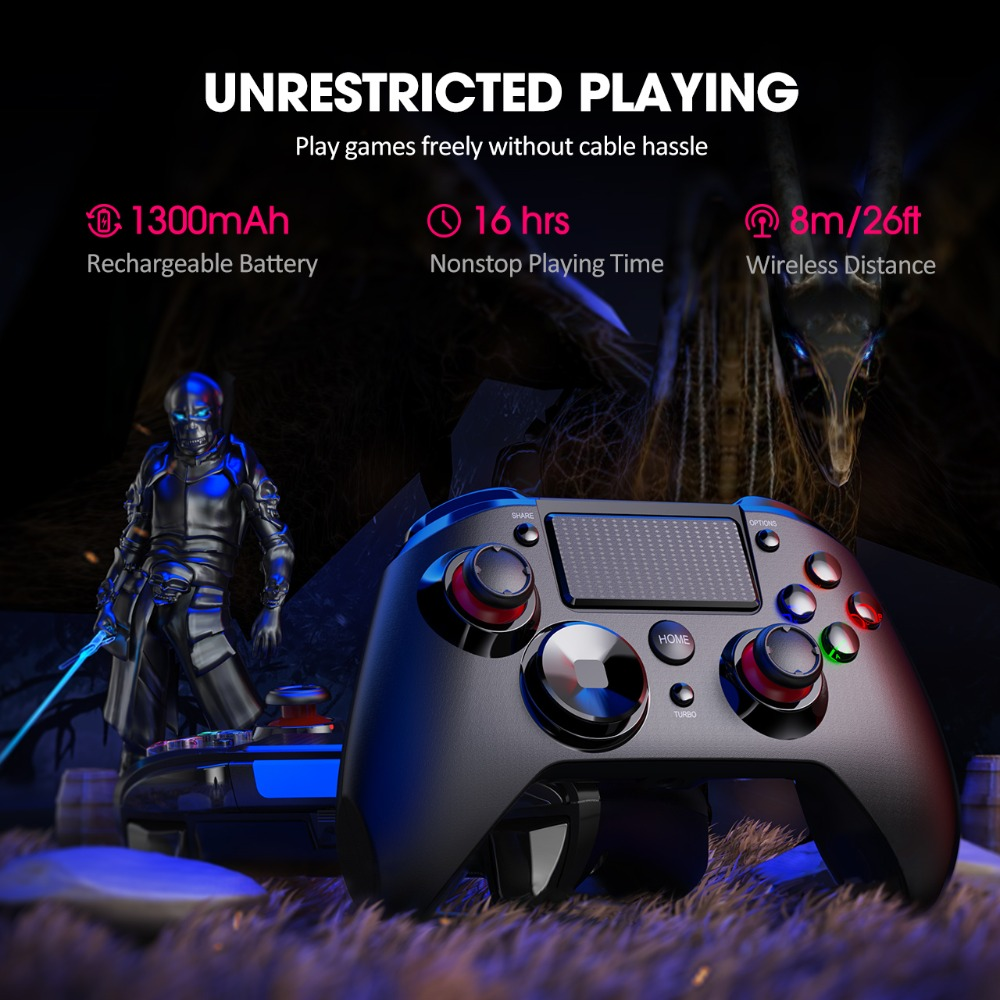 PICTEK PC236 Wireless Gamepad Bluetooth PS4 Controller For Playstation 4 With Audio Port Dual Vibration LED Light For PC Android (2)