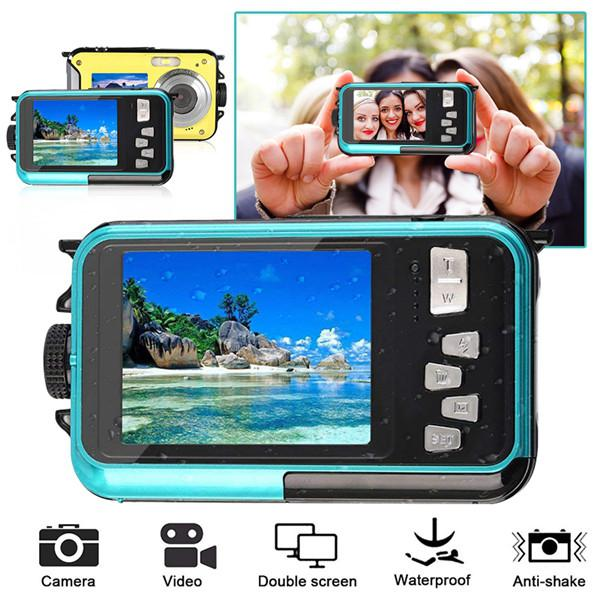 2.7inch TFT Digital Camera Waterproof 24MP MAX 1080P Double Screen 16x Digital Zoom Camcorder HD268 Underwater Camera image