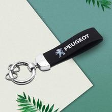3D металлическая кожаная Автомобильная эмблема Peugeot Брелок для ключей для Peugeot 206 207 307 3008 2008 308 408 508 301 208