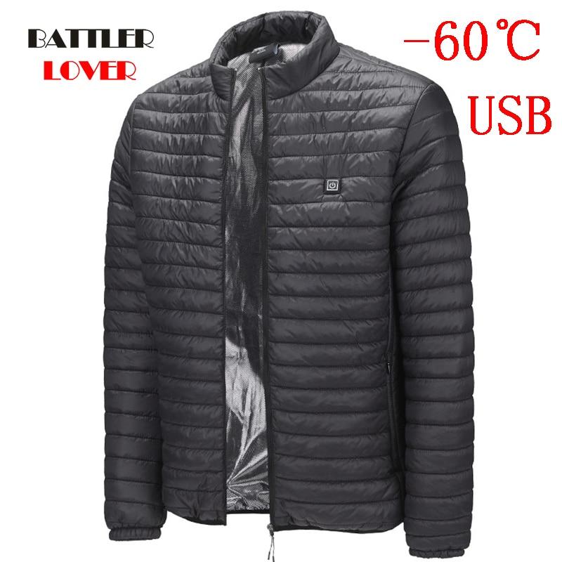 -60 Degree Heated Jackets Vest Duck Down Coats Mens Women Outdoor Coat USB Electric Heating Jackets Men Warm Winter Thermal Coat