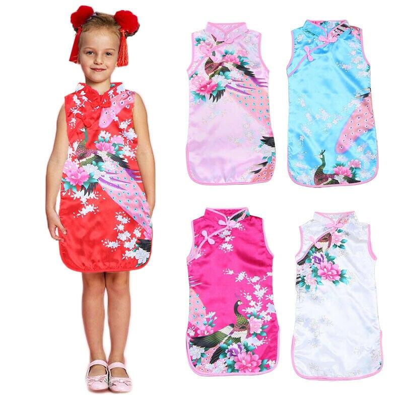 Cheongsam Dress Baby Chinese Qipao Clothes Toddler Kid Elegant Girl Party Hot Sleevelesss Printed Girls Dresses