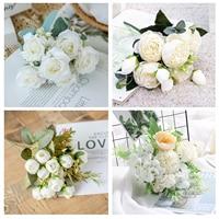 1 Bouquet weiß Künstliche Blumen Pfingstrose Tee Rose Herbst Seide Gefälschte Blumen für DIY Wohnzimmer Home Garten Hochzeit Dekoration