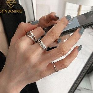 XIYANIKE 925 Sterling Silver Korean Retro Cross Chain Ring Female Wild Fashion Jewelry Temperament Elegant Handmade Gifts