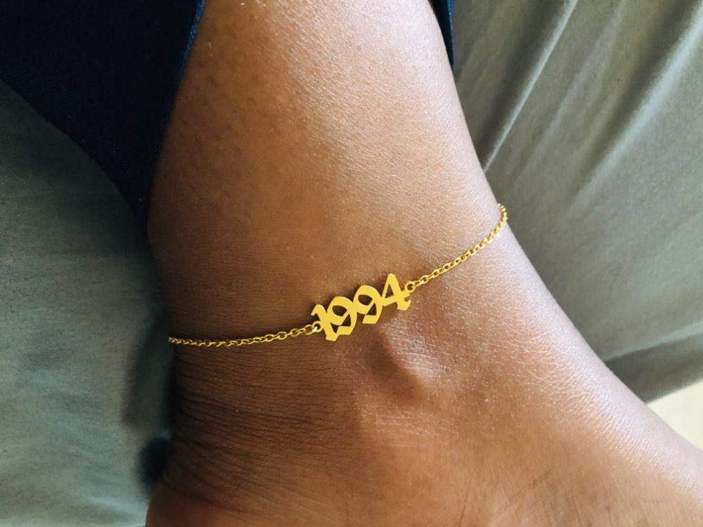 Minimalism 1990-2019 Year Date Anklets & Bracelets Femme Stainless Steel Chain Rose Gold Women Number Anklet Friend Gifts BFF