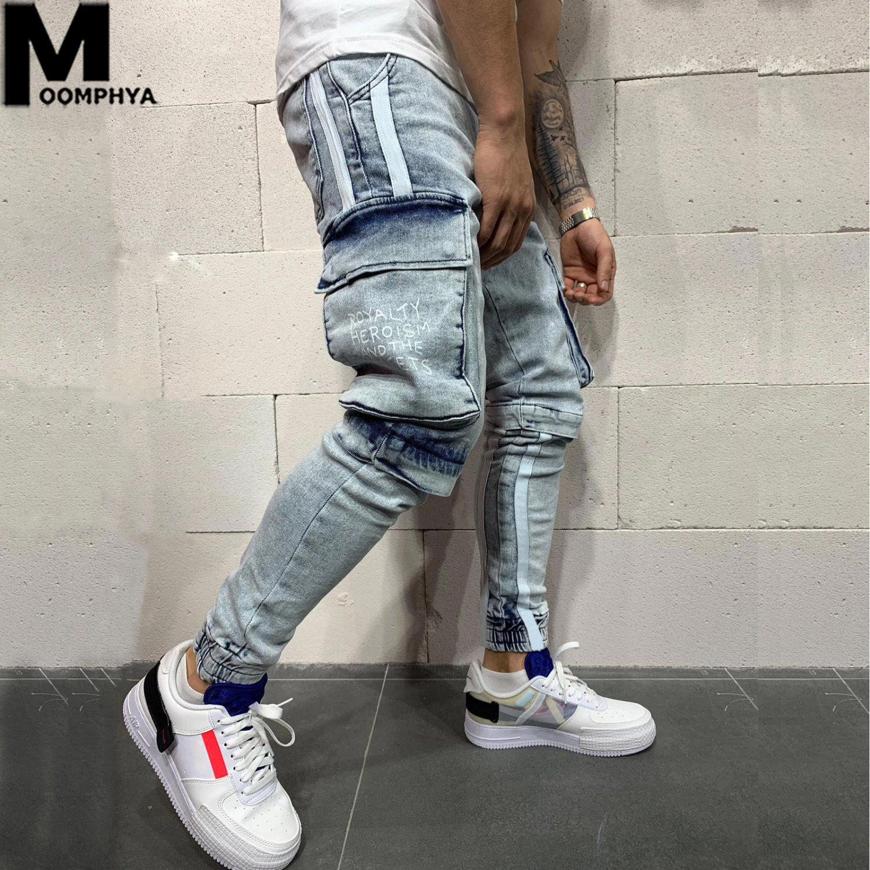 Moomphya Side Stripes Denim Ripped Holes Skinny Jeans Men Streetwear Joggers Men Jeans 2019 Trousers Men Stylish Men Black Jeans