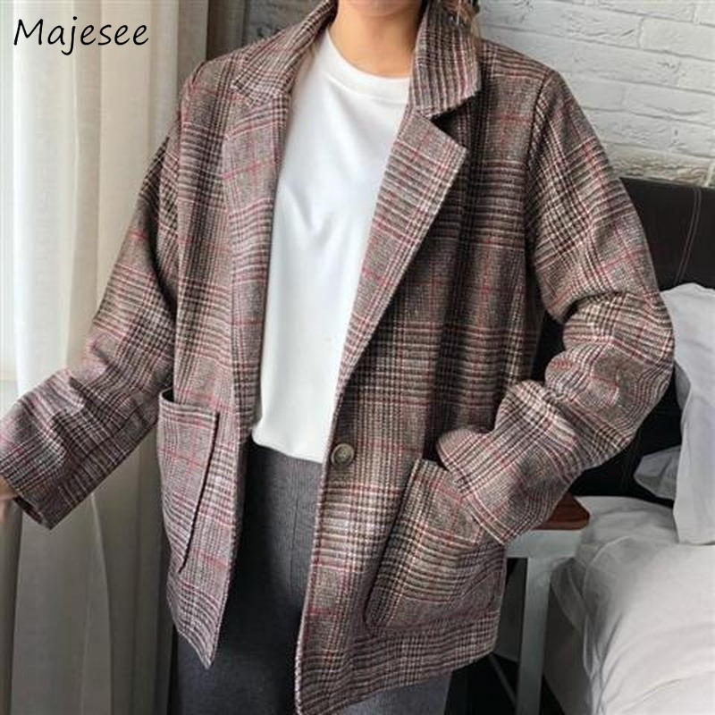 Blazers Women Plaid All Match Elegant Loose Womens Blazer Casual Long Sleeve Korean Fashion Clothing Single Button Novelty Soft