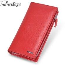 DICIHAYA marki prawdziwej skóry długi portfel damski Alligatos kieszeń na suwak torebka sprzęgła pieniądze etui na telefon, karty uchwyt damskie portfele