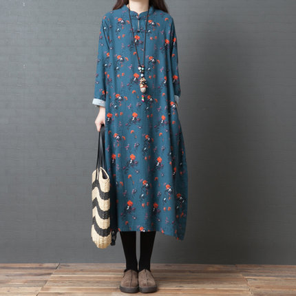 Spring Clothing New Style 2019 Korean-style Loose And Plus-sized Fashion Retro Frog Big Flower Pure Cotton Dress Women's 5218