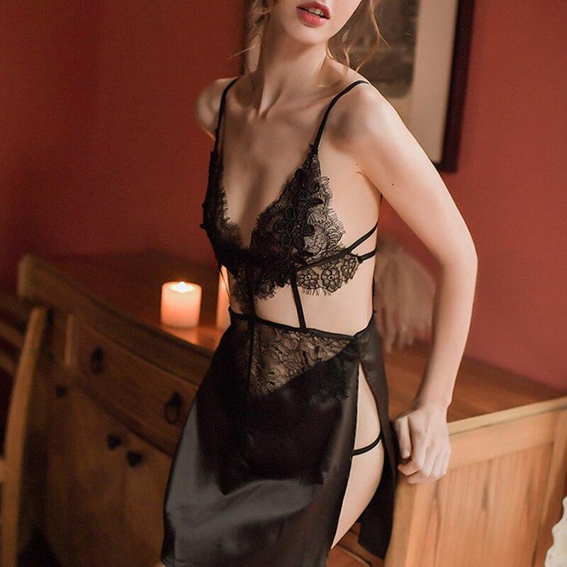 Summer Sexy Lace Ladies V-neck Open Back Satin Mini Nightdress Underwear Black Sleepwear Set Lingerie For Women