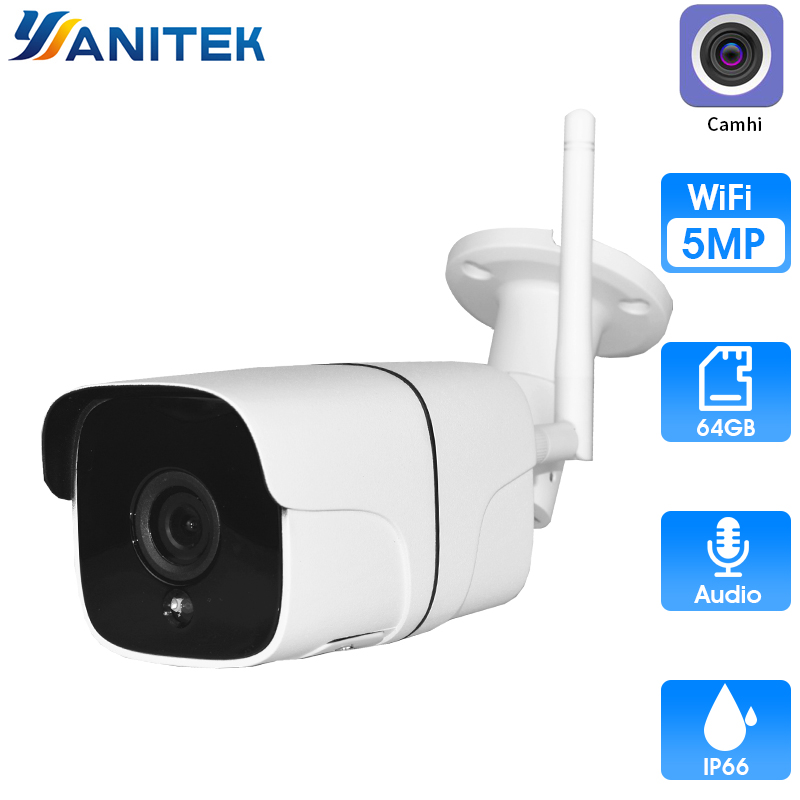 5MP H.265 Wireless WiFi Camera IP Audio Motion Detection Outdoor Camera WiFi IR Night Vision 32GB Card ONVIF P2P Camhi|Surveillance Cameras| |  - title=