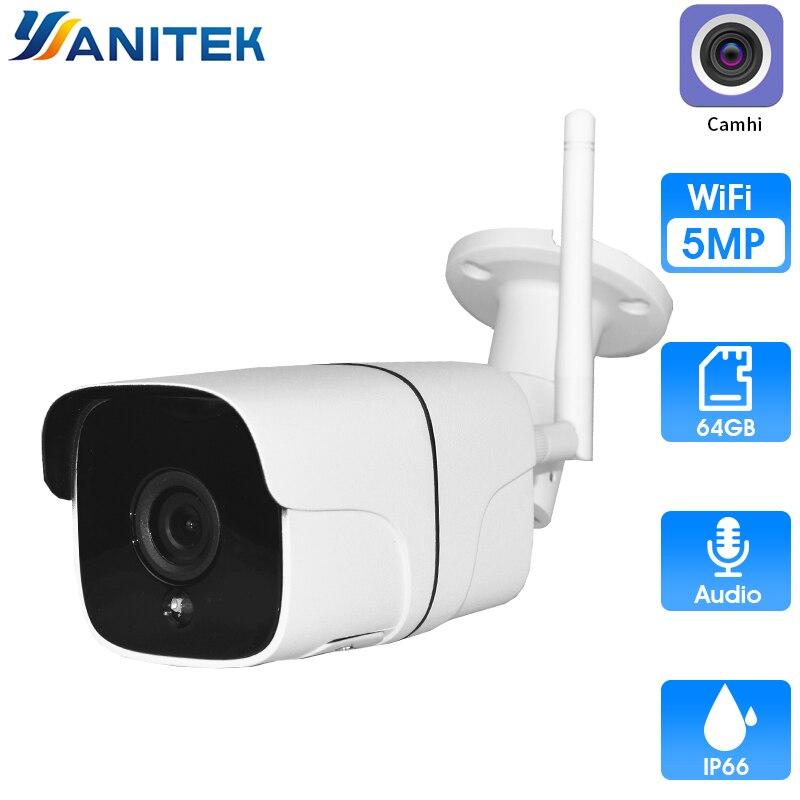 Cámara inalámbrica H.265 de 5MP con WiFi, cámara IP de detección de movimiento para exteriores, cámara WiFi IR visión nocturna, tarjeta de 32GB ONVIF P2P Camhi SDETER 1080P Mini cámara inalámbrica WiFi, cámara de seguridad IP CCTV, visión nocturna IR, detección de movimiento, Monitor de bebé P2P