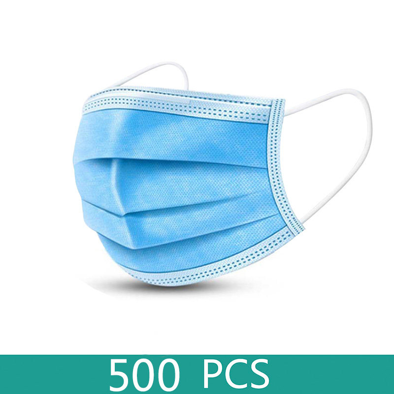 Wholesale Face Mask 500 Pcs Masks Anti-dust Disposable Mouth Masks 3 Layer Elastic Earloop Masks Anti Dust Free Shipping