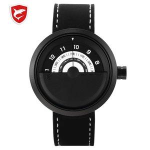 Bonnethead Shark Sport Watch Yellow Men Relogio Masculino Rotate Contrast Crazy Horse Leather Wrist Creative Watches Clock/SH423