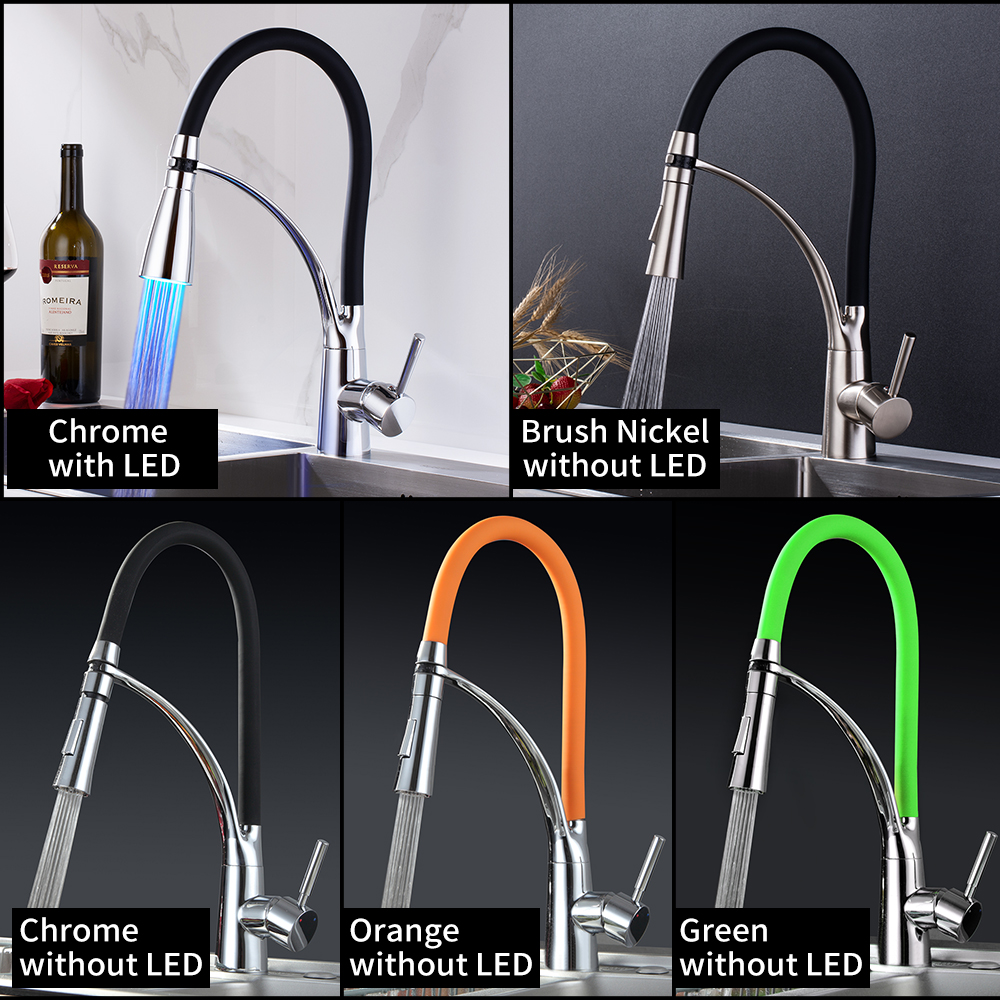 Kitchen Pull Out Faucet Two Functions With LED Light 360 Swivel Chrome Kitchen Faucets Cold And Hot Water Kitchen Sink Mixer Tap