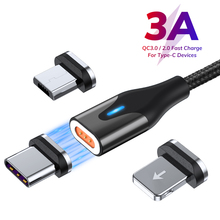 3A Magnetic USB Cable Type C Micro USB Cable For iPhone XS XR Xiaomi 1M Fast Charging Wire Nylon LED Magnetic Charger Data Cord 1m 2m fast magnetic charge cable micro usb cable for iphone xr xs max x magnet charger usb type c cable led charging wire cord