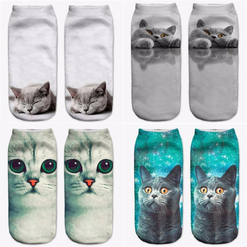Chartreux Cat Head Cat Paws Pattern Men-Women Adult Ankle Socks