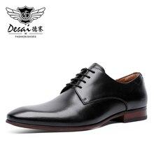 Erkek elbise ayakkabı dantel deri Oxford klasik Modern resmi iş rahat elbise ayakkabı erkekler için