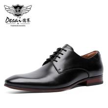 ผู้ชายรองเท้าหนัง LACE up Oxford คลาสสิกอย่างเป็นทางการธุรกิจสบายรองเท้าสำหรับชาย