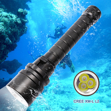 Professional Diver Lamp Flashlight 100M Underwater 6000LM CREE XM-L2 LED White Light Scuba Diving Flashlight Torch w battery new 6000lm 4x xml l2 led scuba diving flashlight torch lamp waterproof 100m