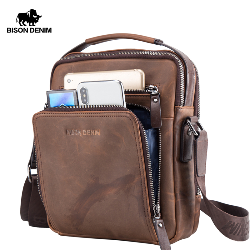 BISON DENIM Genuine Leather Shoulder Bags Fashion Crossbody Business Men's Bag Zipper Small Ipad Male Men's Handbags N2333
