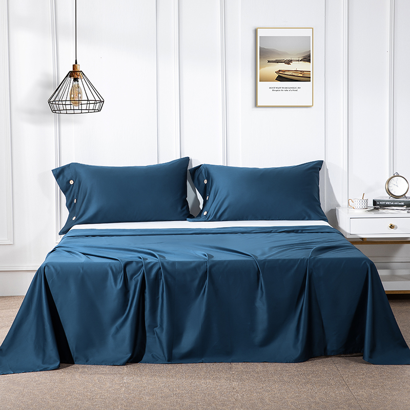 60S Egyptian cotton flat bed sheet bed sheets twin king queen size bed lines tribute satin Solid Color Right-angle sheets