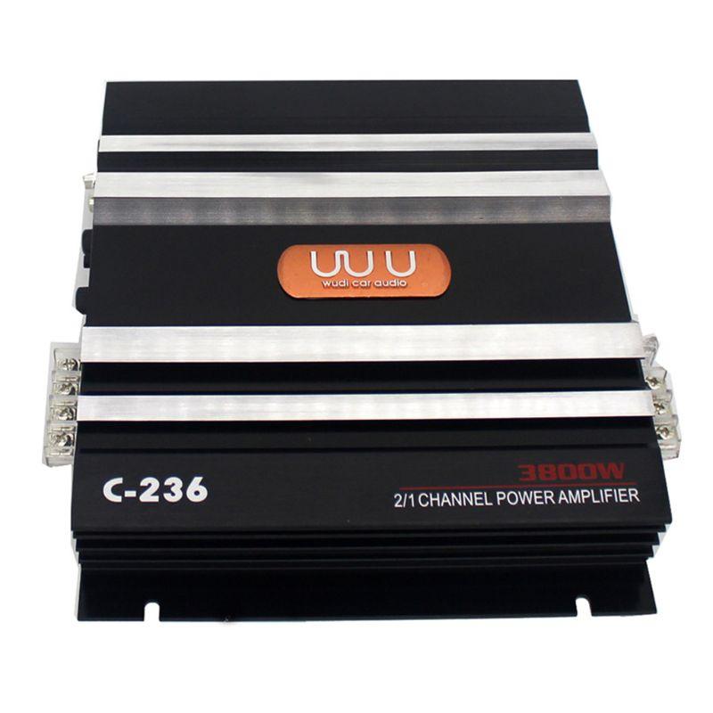 C-236 3800W 2 canales de Audio del coche 12V CC filtro de paso bajo Subwoofer