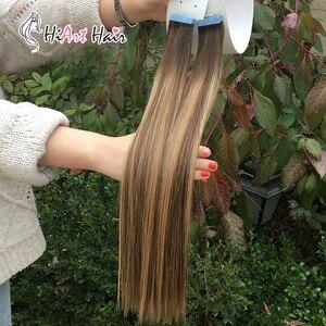 Image 3 - HiArt Extensions de cheveux naturels, avec bande, Balayage, trame de cheveux naturels lisses, Double tirage, pour Salon de coiffure, 18, 20 ou 22 pouces, 2.5g par pièce