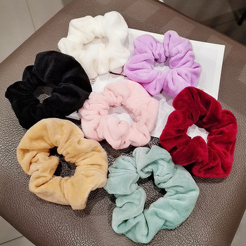 Sweet Velvet Scrunchies Soft Furry Hair Accessories Elastic Hair Bands For Women Hair Ring Plush Hair Rope Ponytail Holder Solid image