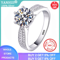 YANHUI With Certificate 2ct Genuine 925 Sterling Silver Rings for Women Engagement Wedding Ring Zirconia Diamond Jewelry R006