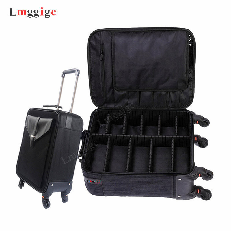 Oxford Cloth Cosmetic Case With Rolling ,Makeup Artist's Toolbox,High-grade Suitcase Bag,Make-up Luggage,Makeups Trolley Box