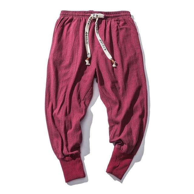 Cotton Harem Pants Men Solid Elastic Waist Streetwear Joggers 2020 New Baggy Drop-crotch Pants Casual Trousers Men Dropshipping 6