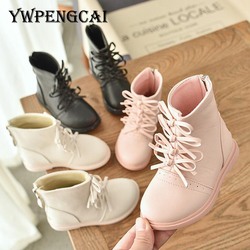 Small Cute Bowtie Children Ankle Boots Girls Soft Leather Boots Autumn Rome Style Solid Colors Kids Boots For Girl Size 26-36