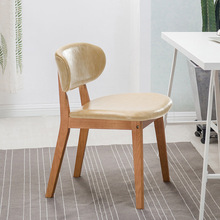 лучшая цена Modern solid wood dining chair dining room dining chair Nordic home bedroom study office lounge fabric solid wood lounge chair