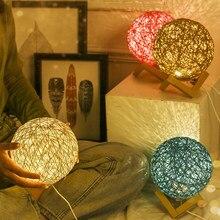 Usb Led Moon Child for Bedroom 3d Table Lamp Cotton Ball Light Room Decorations Gifts Creativity Nightlight Rattan Art Wood