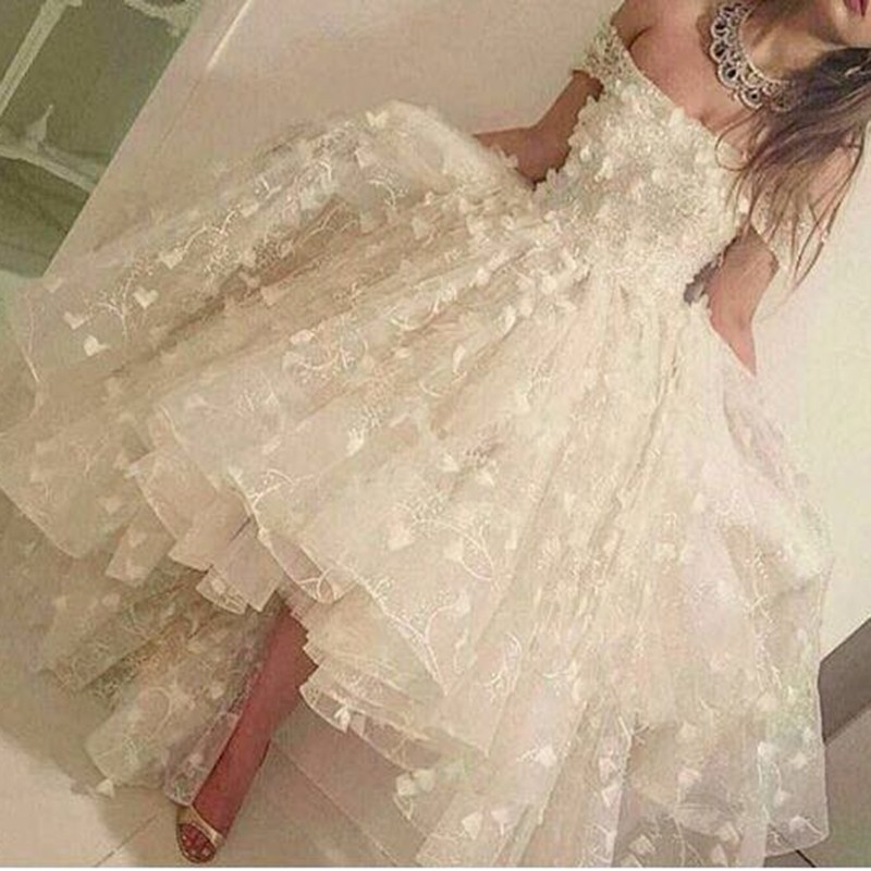 Real White Hi Lo Robe De Soiree Sexy Off The Shoulder Vestido De Noiva Formal Gown Abendkleid Lace Party Prom Bridesmaid Dresses