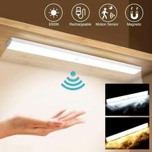 Diodo emissor de luz da noite sensor movimento sem fio usb recarregável lâmpada parede para armário cozinha roupeiro quarto staircase10 15 20 30 50cm