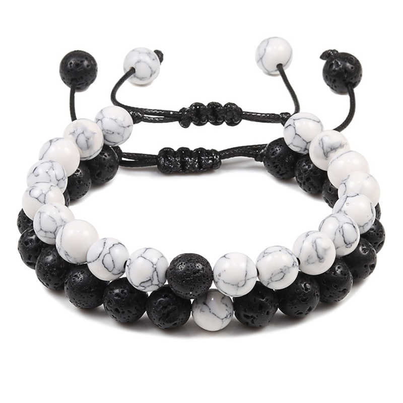 2 Stks/set Gevlochten Armbanden Mannen Natuursteen Yingyang Lava Kralen Armband Yoga Armbanden Beste Vriend Sieraden Paar Gift Set Unisex