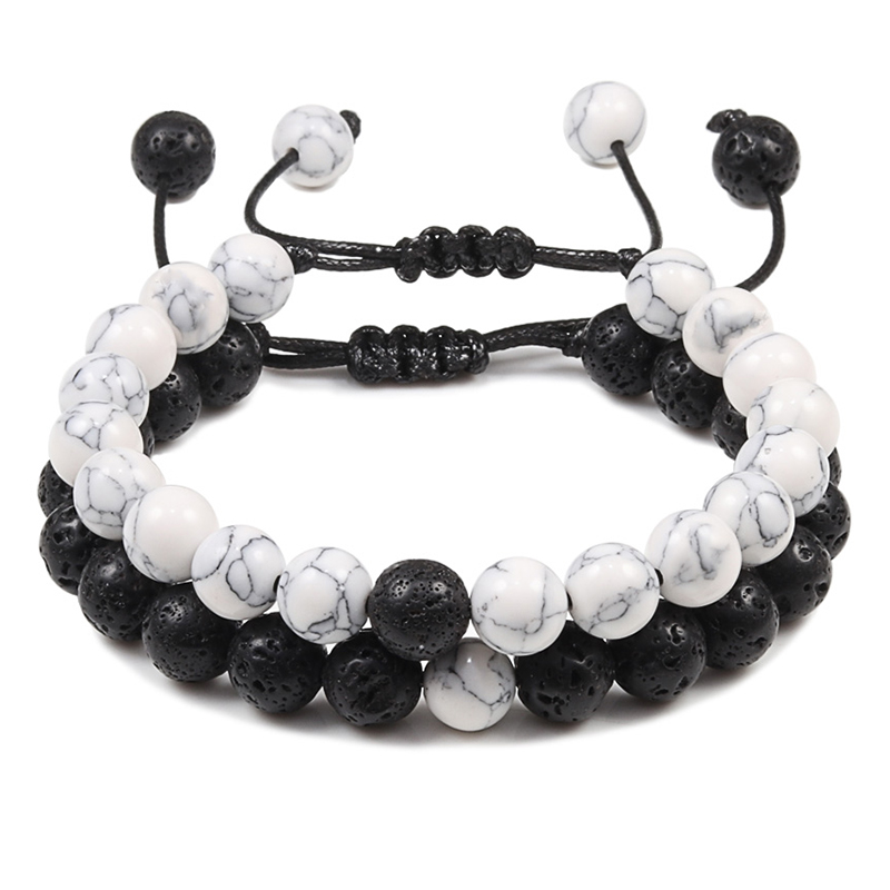 2 X Natural Stone Women Men Distance Lava Beads Beaded Bracelets Jewelry Gifts