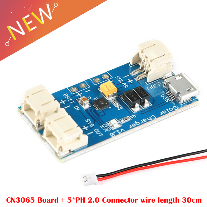 CN3065 Mini Solar Lithium Battery Charger Board Continuous Charge Current To 500mA Li-Po Battery Solar Panel 2 Pin JST Connector