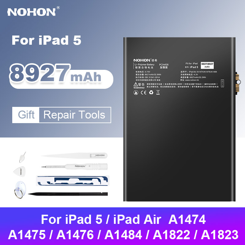 NOHON Battery For iPad Air 1 iPad5 A1474 A1823 A1475 A1484 8927mAh Replacement Bateria Lithium Polymer Tablet Batarya